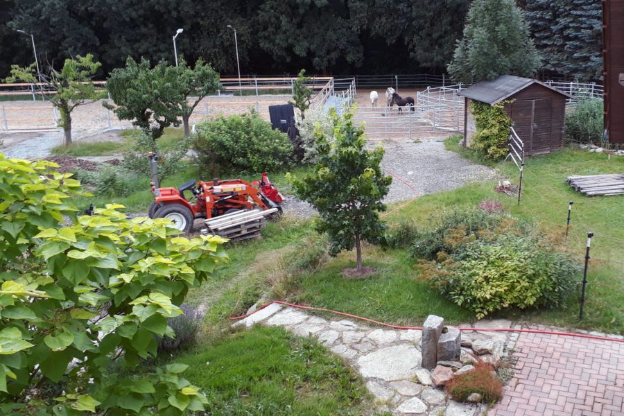 Blick von unserem Haus aus auf den Garten und den Paddocktrail